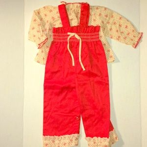Vintage red and cream overalls and blouse set